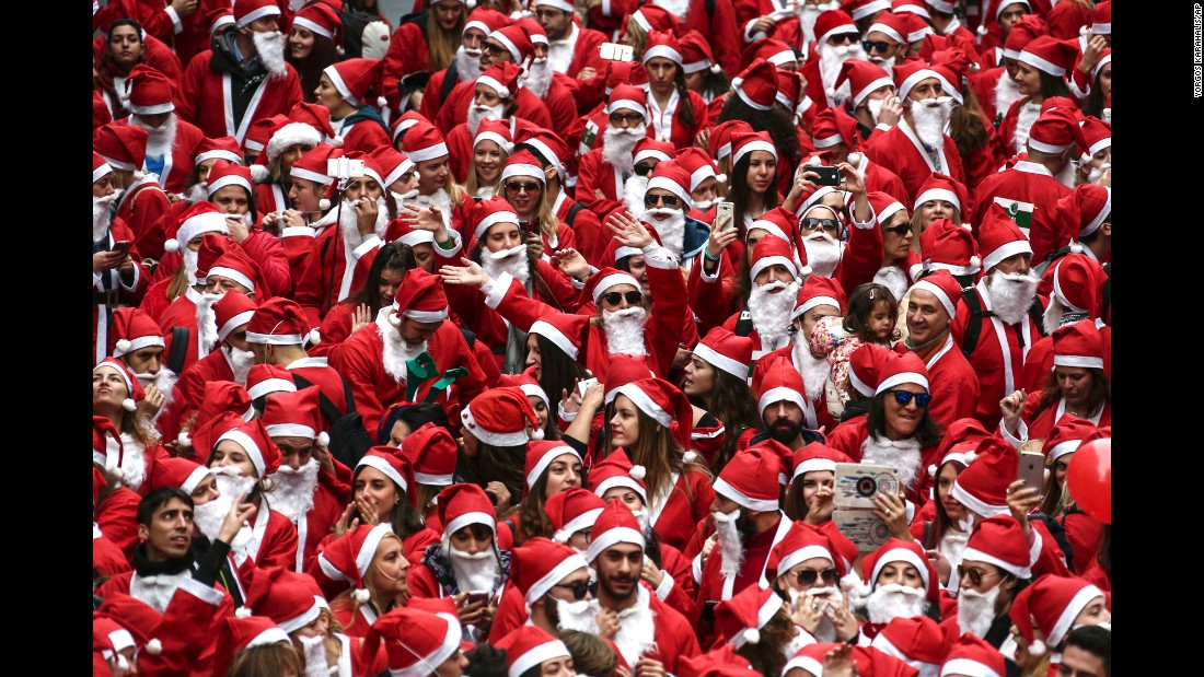 People take part in the Santa Claus Run in Athens on Sunday, December 4.