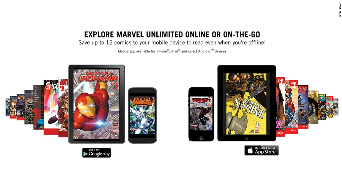 <strong>Marvel Unlimited: </strong>For $9.99 a month or $69 a year, members can enjoy thousands of comics. Visit marvelunlimited.com to get started. You will need to sign in with Facebook or Google, or make a new account.