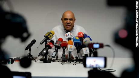 Jesus Torrealba, secretary general of Venezuela's Democratic Unity Roundtable (MUD) -the main opposition coalition- speaks during a press conference in Caracas on December 2, 2016. / AFP / FEDERICO PARRA        (Photo credit should read FEDERICO PARRA/AFP/Getty Images)