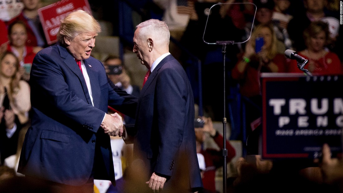 "Trump greets retired Marine Gen. James Mattis at a rally in Fayetteville, North Carolina, on Tuesday, December 6. Trump said <a href=""http://www.cnn.com/2016/12/01/politics/james-mattis-trump-secretary-of-defense/"" target=""_blank"">he would nominate Mattis</a> as his defense secretary."