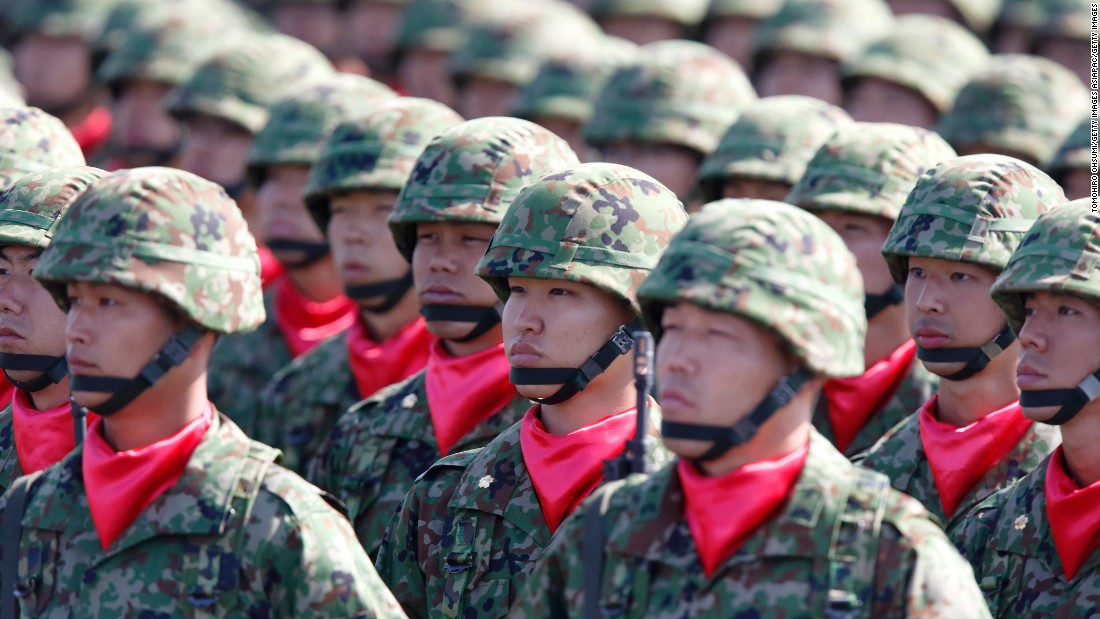 Members of the the Japan Ground Self-Defense Force attend the annual review at the Japan Ground Self-Defense Force Camp Asaka on October 23, 2016. Japan has 151,000 soldiers in its Ground Self-Defense Force.