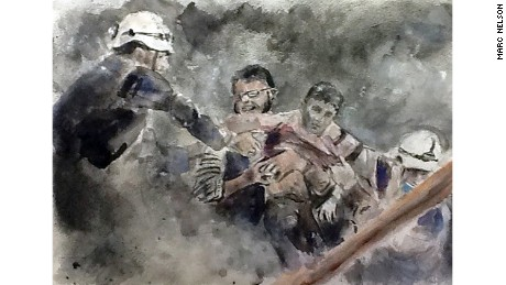 A White Helmets rescue worker pulls a young child from the rubble in a sketch by Marc Nelson from October.