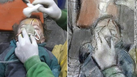 Marc Nelson's sketch of a child pulled from the rubble after an airstrike in eastern Aleppo in November.