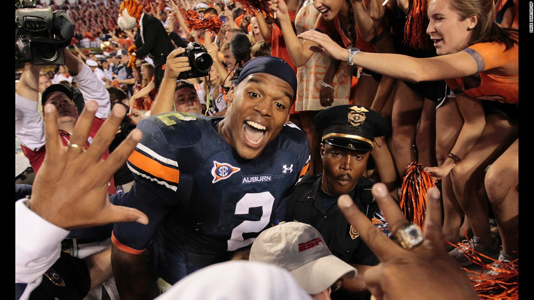 Auburn quarterback Cameron Newton celebrates a win over Louisiana State University at Jordan-Hare Stadium in Auburn, Alabama, on October 23, 2010.