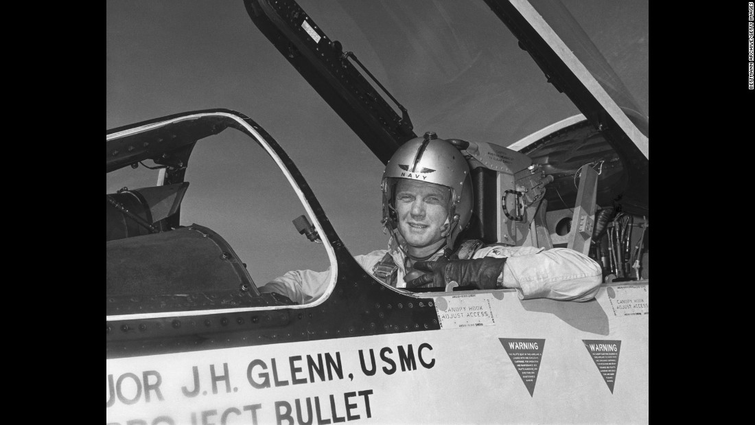 During World War II, Glenn enlisted in the Naval Aviation Cadet Program in 1942 and became a pilot for the US Marines a year later. Glenn, pictured here in the cockpit of an F-8 fighter, completed nearly 150 combat missions in World War II and the Korean War.