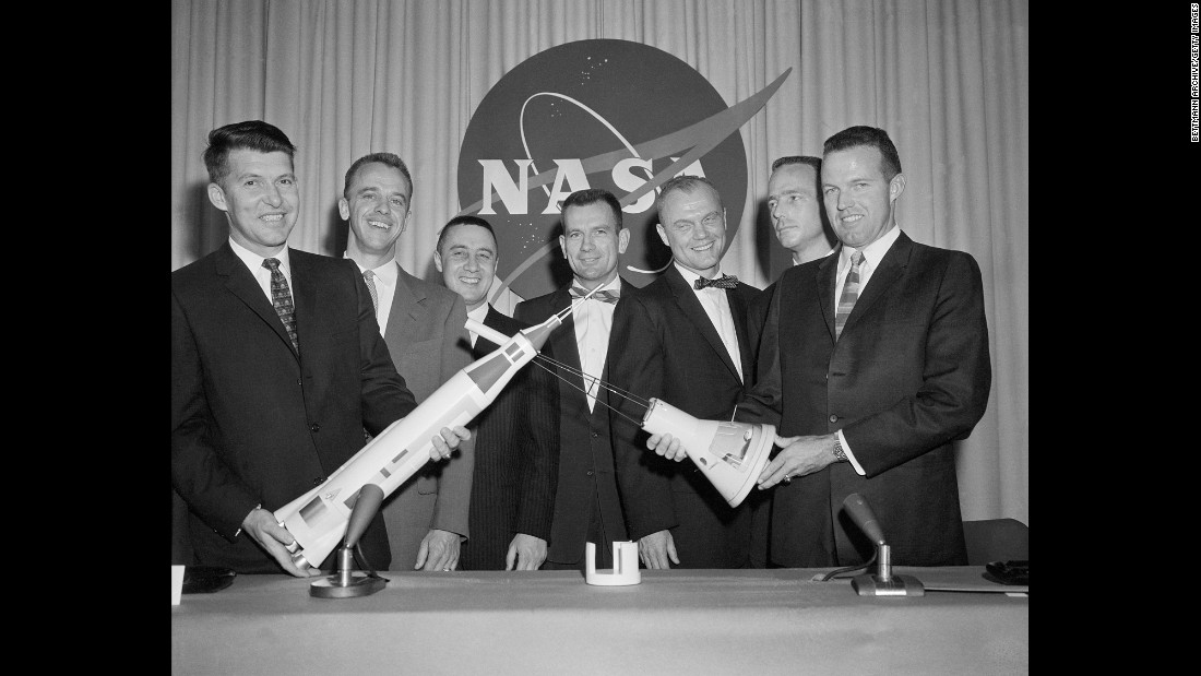 In 1959, NASA selected seven men -- from left, Wally Schirra, Alan Shepard, Gus Grissom, Deke Slayton, Glenn, Scott Carpenter and Gordon Cooper -- as the first US astronauts, known as the Mercury 7.