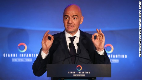 LONDON, ENGLAND - FEBRUARY 01:  FIFA Presidential candidate Gianni Infantino talks during a press conference at Wembley Stadium on February 1, 2016 in London, England.  (Photo by Clive Rose/Getty Images)
