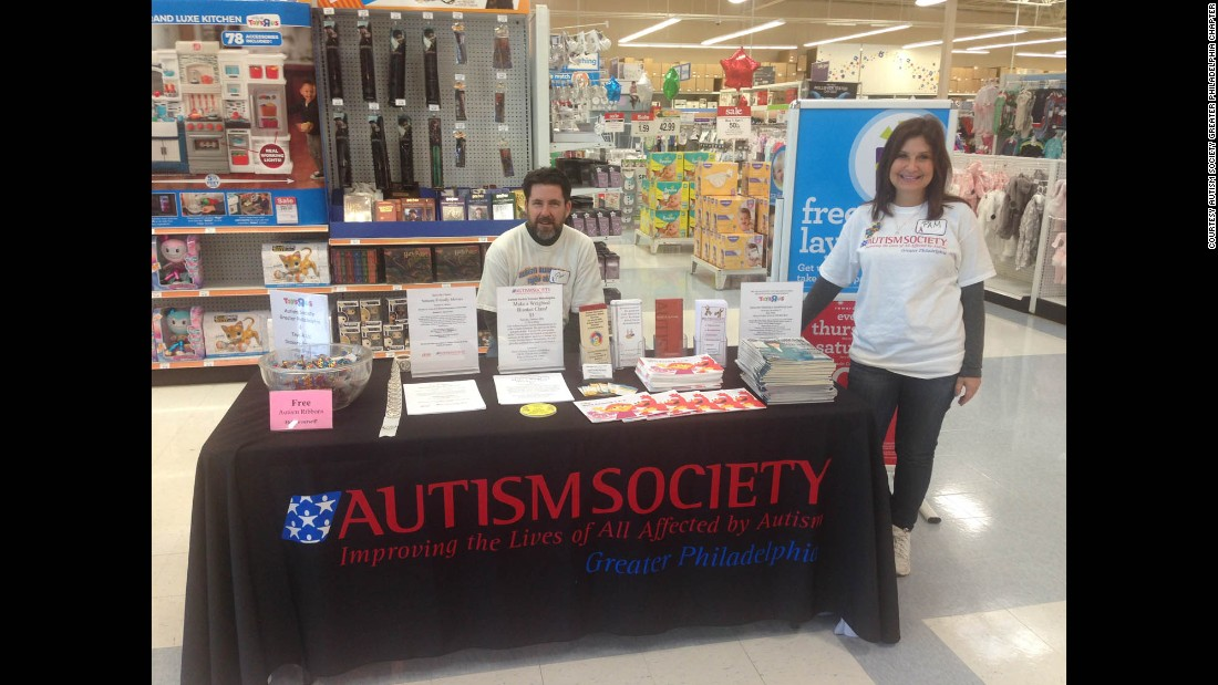 Pat Lyons, treasurer of the Greater Philadelphia chapter of the Autism Society, and Pam Frebowitz greet sensory-friendly shoppers and educate the public at the literature table at the front of the store.
