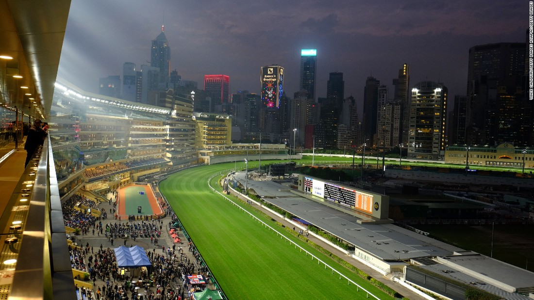 The Hong Kong skyline provided a stunning backdrop for the International Jockeys' Championship at the Happy Valley racecourse.