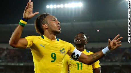Gabon's forward Pierre-Emerick Aubameyang celebrates after scoring a goal during the 2015 African Cup of Nations group A football match between Burkina Faso and Gabon at Bata Stadium in Bata on January 17, 2015. AFP PHOTO / CARL DE SOUZA        (Photo credit should read CARL DE SOUZA/AFP/Getty Images)