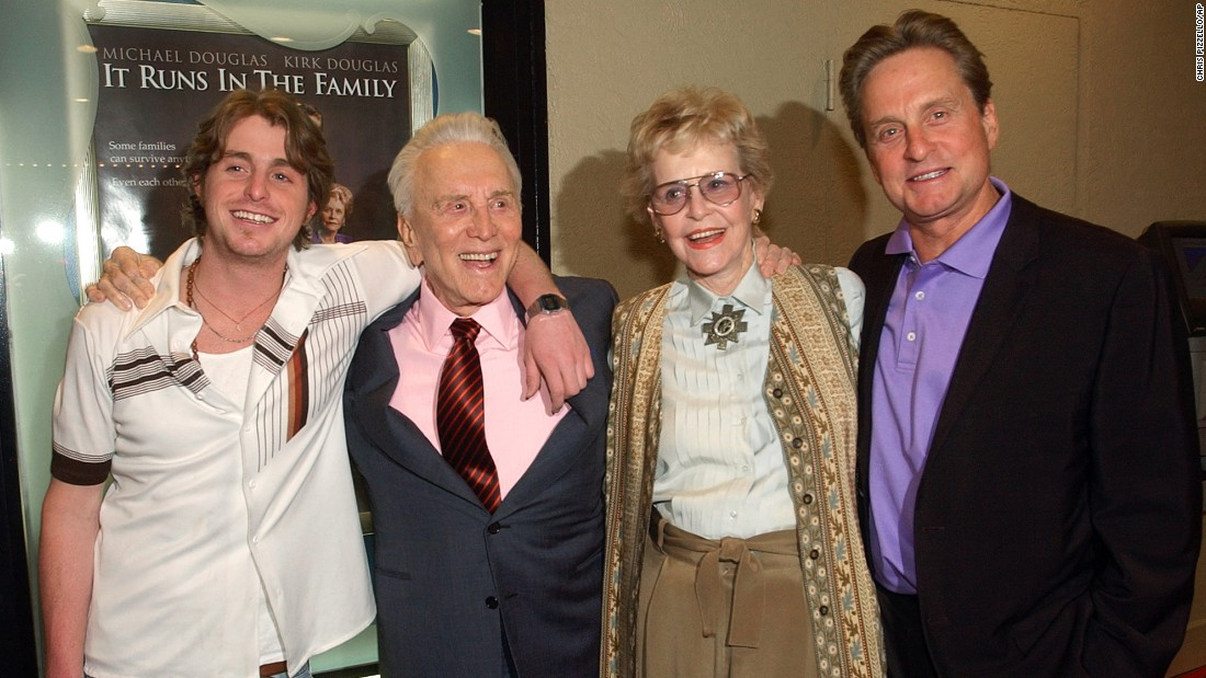 "Douglas, second from left, appears with his first wife, the late Diana Douglas, son Michael and grandson Cameron Douglas at a special screening of ""It Runs in the Family"" in Los Angeles. All four actors starred in the 2003 film."