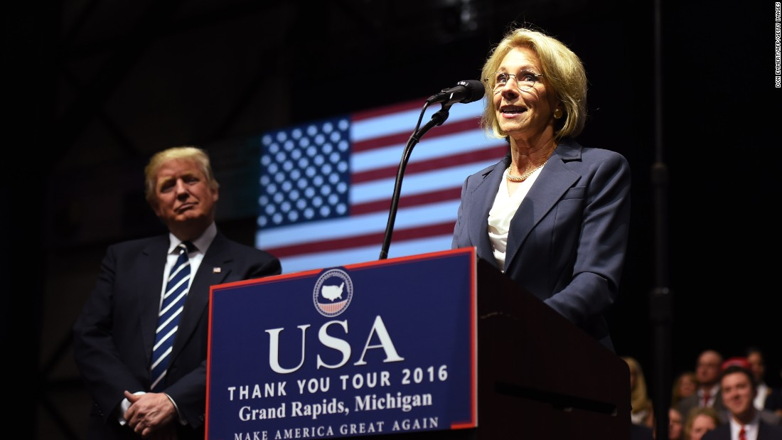 "Betsy DeVos, <a href=""http://www.cnn.com/2016/11/23/politics/betsy-devos-picked-for-education-secretary/"" target=""_blank"">Trump's pick for education secretary,</a> speaks during an event in Grand Rapids, Michigan, on Friday, December 9."