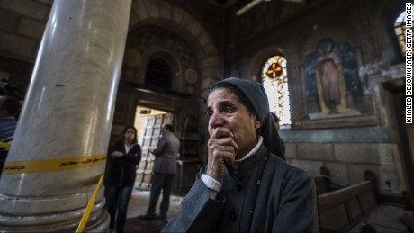A nun at the scene of the St. Peter and St. Paul Coptic Orthodox Church bombing in December in Cairo.