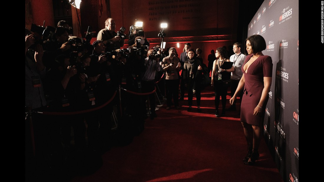 """Empire"" star Taraji P. Henson draws a crowd of photographers on the red carpet."