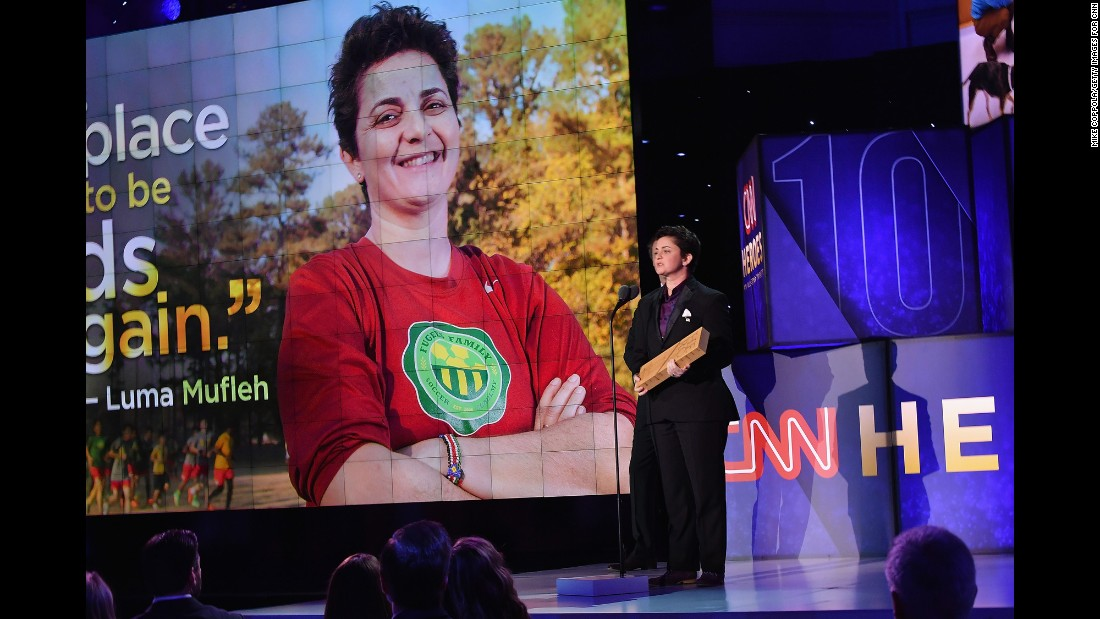 "CNN Hero Luma Mufleh of <a href=""http://www.cnn.com/2016/04/14/us/cnnheroes-luma-mufleh-soccer-fugees/index.html"" target=""_blank"">Fugees Family</a> speaks onstage after accepting her award. She founded a school and soccer program for young refugees near Atlanta."