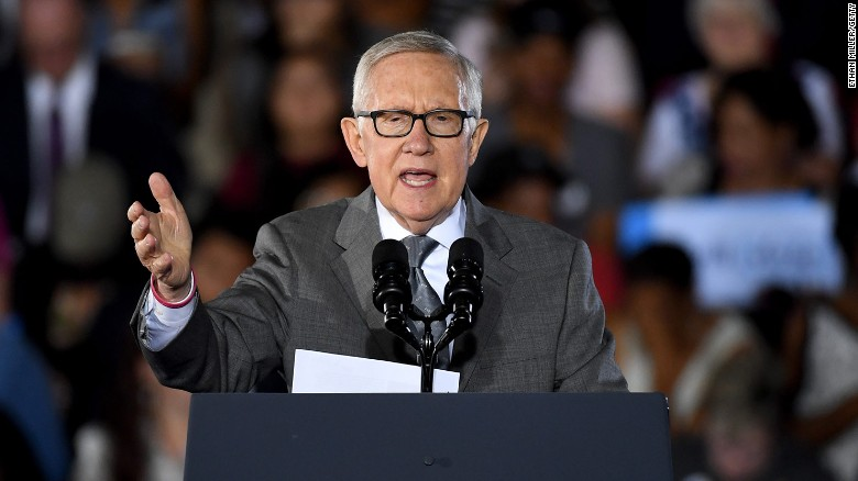 Former Sen. Harry Reid speaks at a rally in Nevada in 2016. The New York Times says it was his interest that spurred the creation of the UFO program.