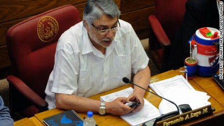 Former Paraguayan President (2008-2012) Fernando Lugo takes part in an extraordinary session at the Senate in Asuncion on December 10, 2013. The Paraguayan Senate is discussing the protocol for the joining of Venezuela to the Mercosur, pending since 2006, a necessary step for the return of Paraguay to the bloc, from which it was suspended on June 2012 after Lugo's dismissal from office. AFP PHOTO / Norberto Duarte        (Photo credit should read NORBERTO DUARTE/AFP/Getty Images)