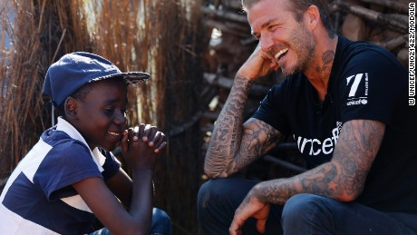 UNICEF Goodwill Ambassador David Beckham meets Sebenelle, 14, in Makhewu, Swaziland, on June 7, 2016, who receives the 7 Fund support in management of malnutrition in HIV positive children. Beckham travelled to Swaziland to see how 7: The David Beckham UNICEF Fund is helping UNICEF to provide life-saving treatment, care and support to HIV-positive children. During his visit Beckham learnt how the worst drought in decades  now taking hold on vast swathes of Eastern and Southern Africa  is threatening to wreak havoc on the lives of children and families already made vulnerable by HIV. 