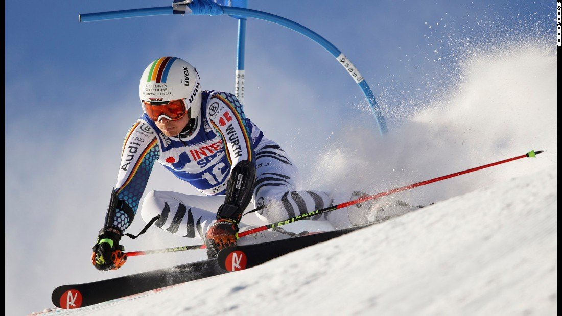 German skier Stefan Luitz speeds down the giant-slalom course during a World Cup event in Val d'Isere, France, on Saturday, December 10.