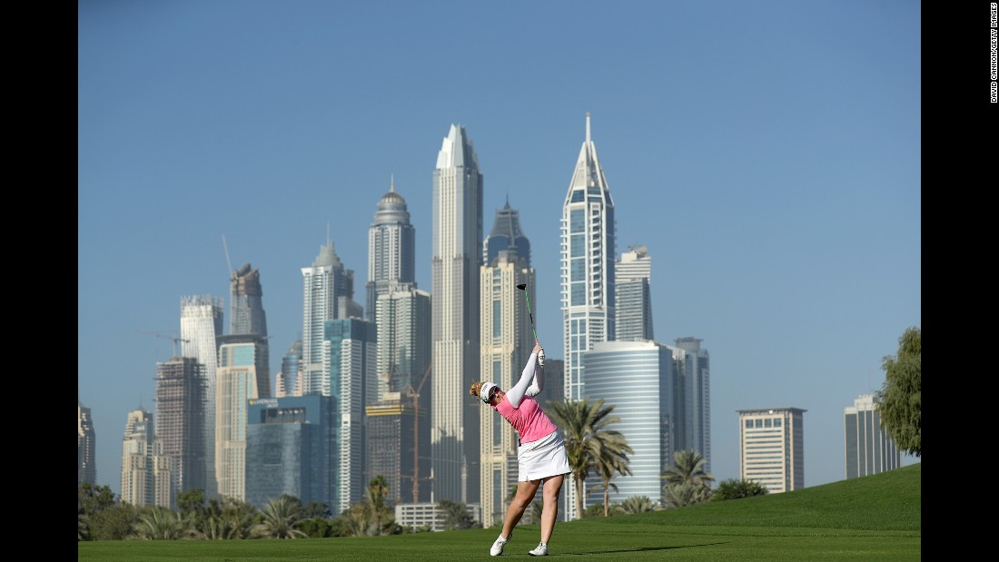 Kylie Walker plays a shot during the Dubai Ladies Masters on Friday, December 9.