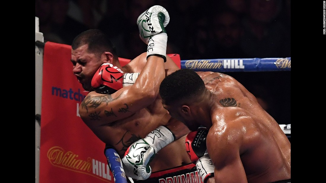 Anthony Joshua knocks out Eric Molina to retain the IBF heavyweight title Saturday, December 10, in Manchester, England.