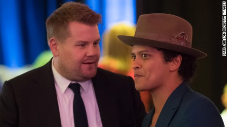 WOODLAND HILLS, CALIFORNIA - APRIL 10:  (L-R) Television Host James Corden and Singer Bruno Mars attend Micah's Voice Presents Back In The Day 2nd Annual Benefit Concert at Warner Center Marriott on April 10, 2016 in Woodland Hills, California.  (Photo by Earl Gibson III/Getty Images for Micah's Voice )