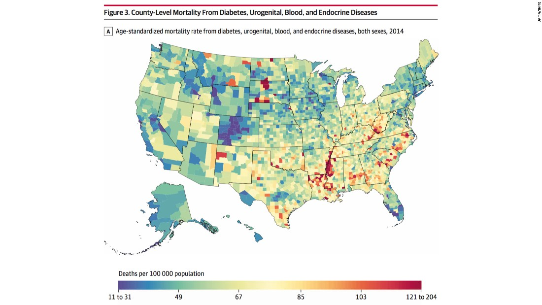 Whats The Most Common Cause Of Death In Your County CNN - County by county us health map statistics