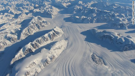 The texture on the surface of flowing ice, such as Heimdal Glacier in southern Greenland, allows NASA to map nearly all the flowing ice in the world.