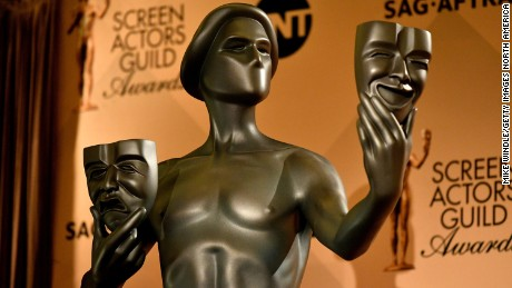 A Screen Actors Guild Award Statue is displayed during the 23rd Annual SAG Award Nominations Announcement at Silver Screen Theater on December 14, 2016, in West Hollywood, California.   (Photo by Mike Windle/Getty Images for Turner)