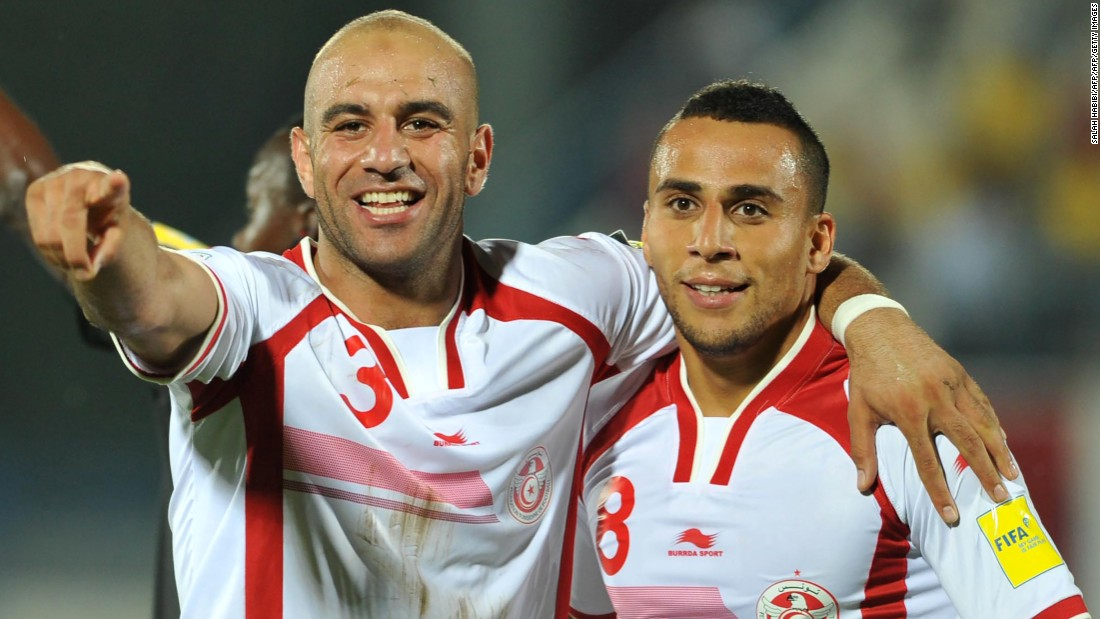 <strong>Aymen Abdennour, Tunisia: </strong>Although central defender Abdennour (left, with teammate Anis Ben Hatira) is the most experienced outfield player for the Eagles, at the age of 27 he's still in his footballing prime. The former Monaco player signed with Valencia last season as a replacement for Manchester City-bound Nicolás Otamendi.
