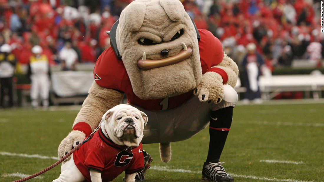 Mascots Hairy Dawg and UGA VII -- an actual bulldog -- pose for some pregame photos.
