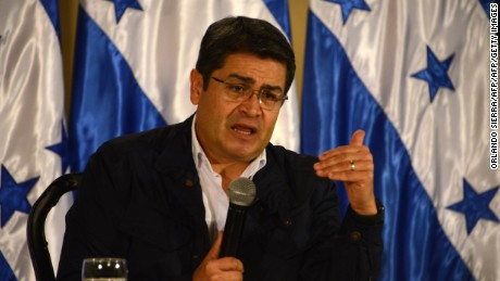 Honduran President Juan Orlando Hernandez answers questions during a press conference in Tegucigalpa, on December 14, 2016.  The Supreme Electoral tribunal (TSE) authorized Hernandez to present his candidacy to the reelection. / AFP / ORLANDO SIERRA        (Photo credit should read ORLANDO SIERRA/AFP/Getty Images)