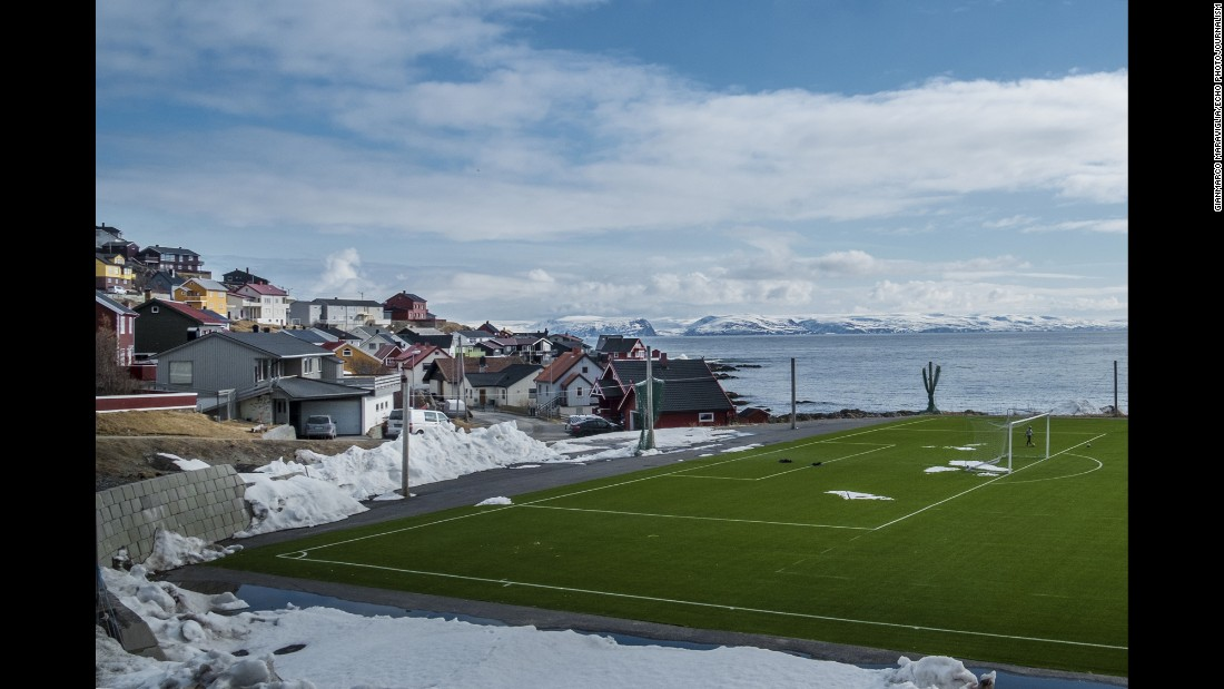 A soccer field in Norway's North Cape.