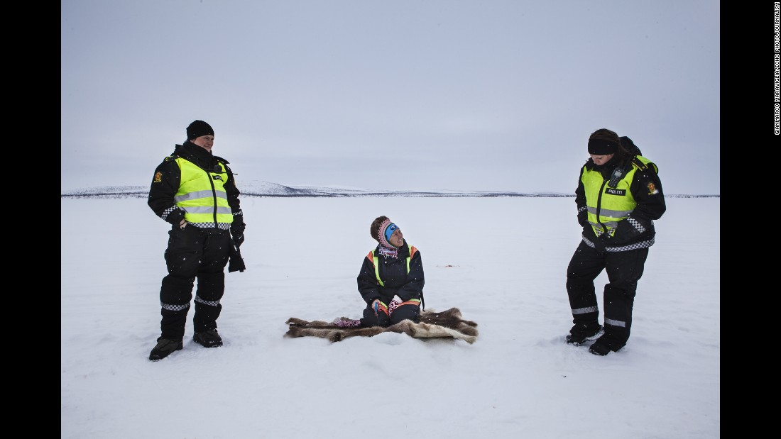 Anne and Christine talk with an indigenous Sami woman who is ice fishing in Finnmark. The Sami people have a long history with the land.