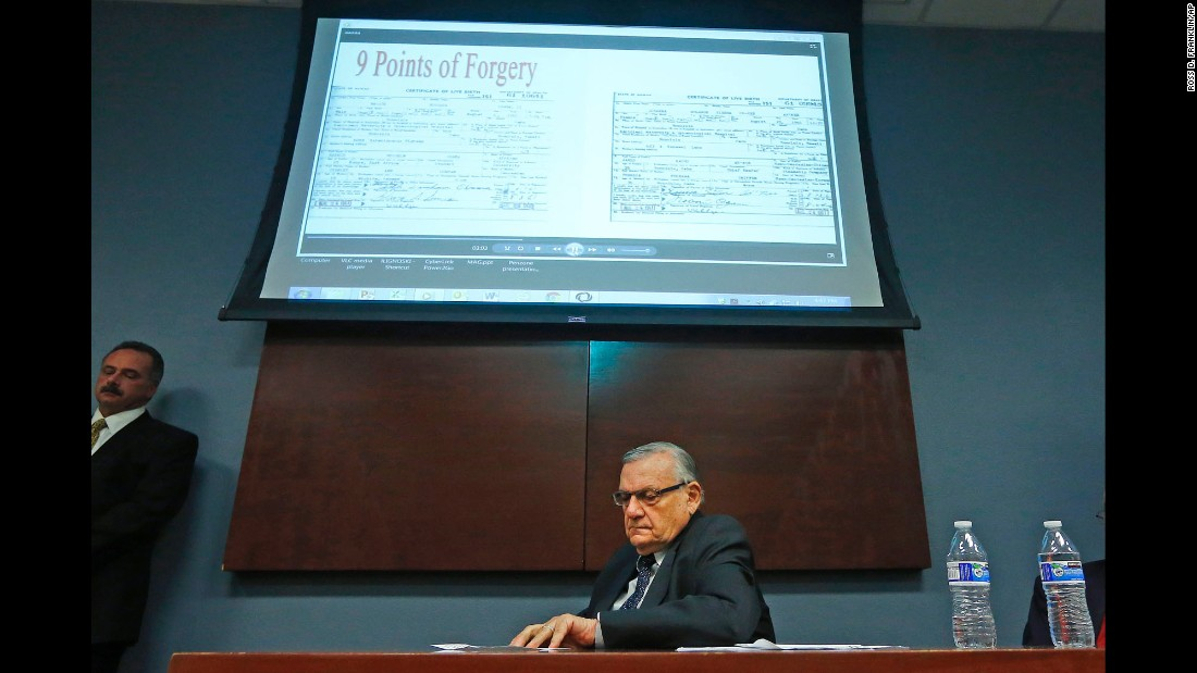 Maricopa County Sheriff Joe Arpaio listens to a presentation in Phoenix about President Barack Obama's birth certificate on Thursday, December 15. Arpaio continues to say that it is fake. Critics have called Arpaio's investigation a shameless ploy to raise money from his right-wing base.