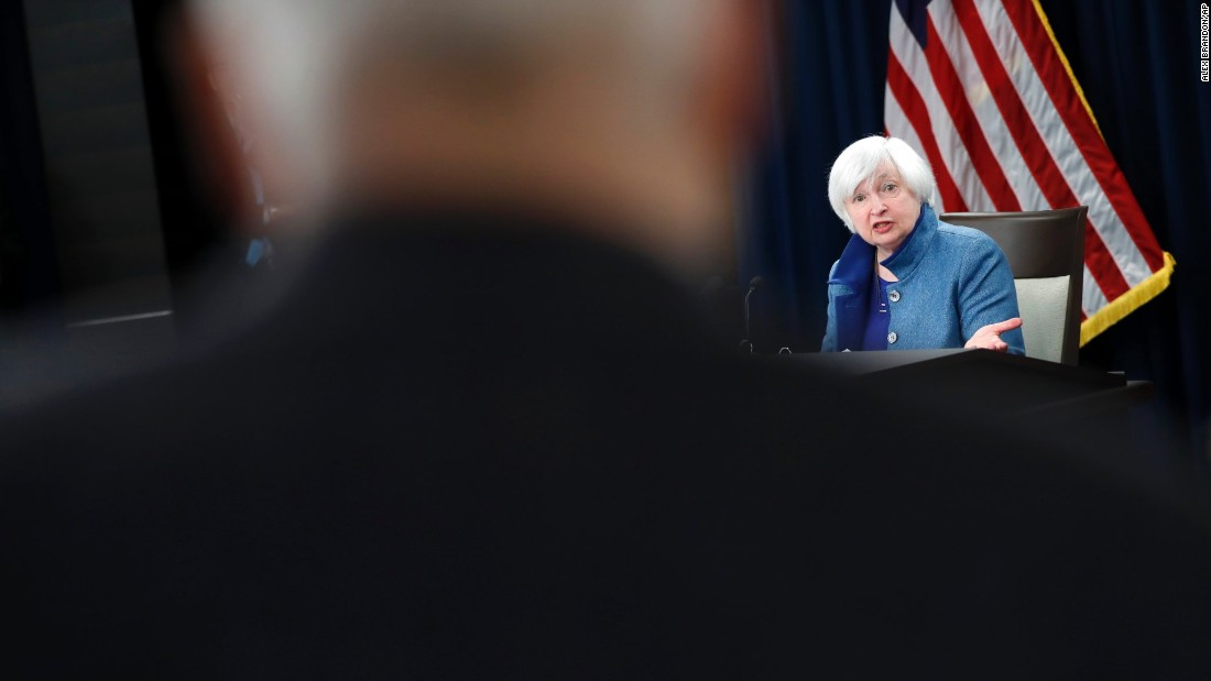 "Janet Yellen, chairwoman of the Federal Reserve Board, speaks during a news conference about the Fed's monetary policy on Wednesday, December 14. The Fed <a href=""http://money.cnn.com/2016/12/14/news/economy/federal-reserve-rate-hike-december/index.html"" target=""_blank"">increased its key interest rate by 0.25%,</a> a move that signifies confidence in the improving US economy. ""Economic growth has picked up since the middle of the year,"" Yellen said. ""We expect the economy will continue to perform well."""