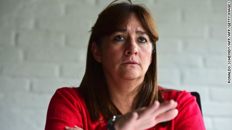 Angela Buitrago, one of five experts of the Inter-American Commission on Human Rights (IACHR) designated to investigate the case of the 43 students missing in Ayotzinapa, Guerrero State, since September 26, 2014, speaks during an interview with AFP in Mexico City, on April 26, 2016. / AFP / RONALDO SCHEMIDT        (Photo credit should read RONALDO SCHEMIDT/AFP/Getty Images)
