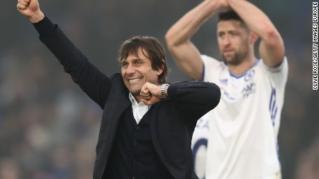 Antonio Conte celebrates his side's club record-equaling 11th straight EPL win after beating Crystal Palace at Selhust Park.