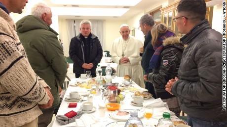 The birthday breakfast took place in the Vatican dining room.