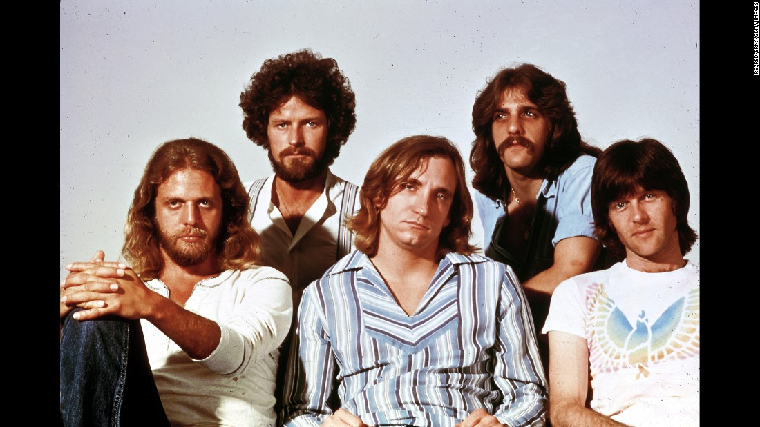 "During the 1970s the Eagles scored so many popular songs that their greatest hits compilation sold more albums in the US than any other except Michael Jackson's ""Thriller."" Left to right: guitarist Don Felder, singer/drummer/songwriter Don Henley, guitarist/singer Joe Walsh, and singer/songwriter/guitarist Glenn Frey, who died in 2016. Bassist Randy Meisner, far right, left the band in 1977. Not pictured are guitarist Bernie Leadon, who left  in 1975, and bassist Timothy B. Schmit. Overall, the Eagles have sold 101 million units in the US, according to the RIAA."