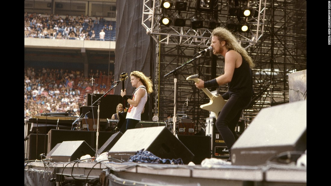 "This thrash metal band formed in LA in 1981 with Danish drummer (and sometimes film actor) Lars Ulrich and guitarist/songwriter/singer James Hetfield (right). Later, guitarist/songwriter Kirk Hammett joined the band, as did bassist Jason Newsted, left, who departed the band in 2001. Their 1991 release ""Metallica"" (aka The Black Album) includes the iconic ""Enter Sandman."" It has become the band's most popular album, selling 16 million units in the US. Overall, the band has sold 62 million units nationwide, according to the Recording Industry Association of America."