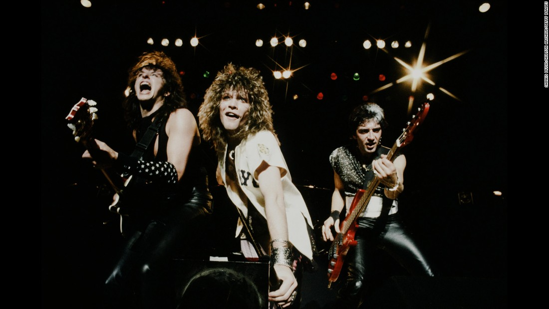 "Led by singer/songwriter Jon Bon Jovi, center, these guys turned heads in the 1980s with their blockbuster album, ""Slippery When Wet,"" which included hits ""Livin' on a Prayer,"" ""You Give Love a Bad Name"" and ""Wanted Dead or Alive."" Bon Jovi has sold 34.5 million units in the US, according to the Recording Industry Association of America."