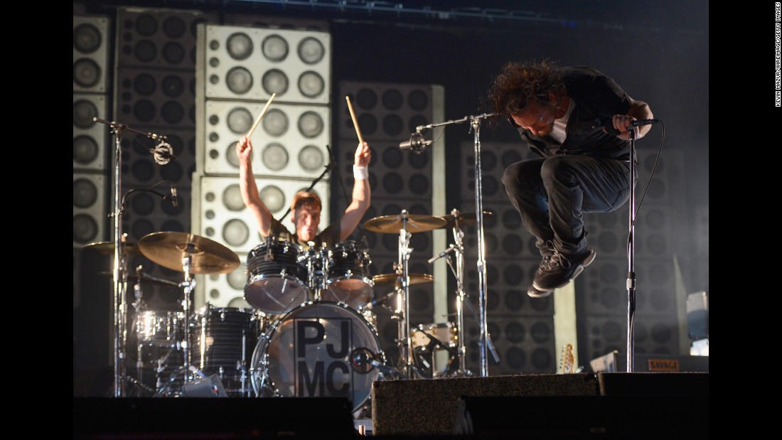 After forming in Seattle in 1990, Pearl Jam went on to help define an entire rock genre -- the grunge sound of the early '90s. The Rock and Roll Hall of Fame chose to induct the band in 2017, Pearl Jam's first year of eligibility. Singer/songwriter Eddie Vedder is shown here with drummer Matt Cameron. Other members include guitarists Mike McCready and Stone Gossart and bassist Jeff Ament. Pearl Jam have sold 31.5 million units in the US, according to the Recording Industry Association of America.