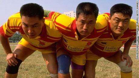 21 Oct 1998:  The Chinese national rugby team front row during a training feature in Guangzhou, Japan.  \ Mandatory Credit: David Rogers /Allsport
