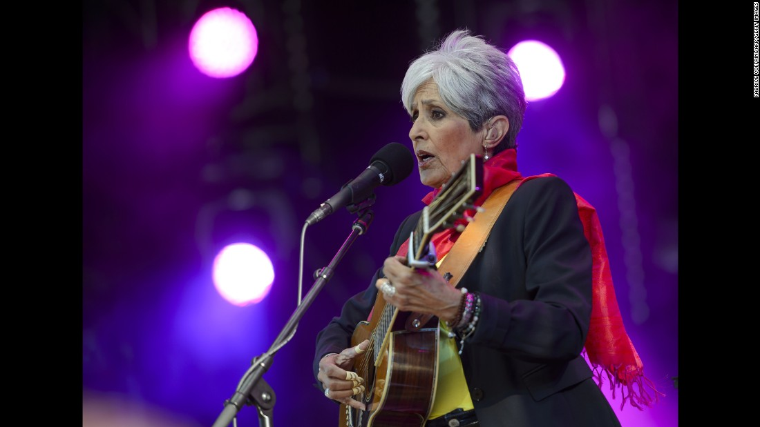 Folk singer Joan Baez, shown here performing in July 2015 in Nyon, Switzerland will be inducted into the 2017 Rock and Roll Hall of Fame. She is joined by...