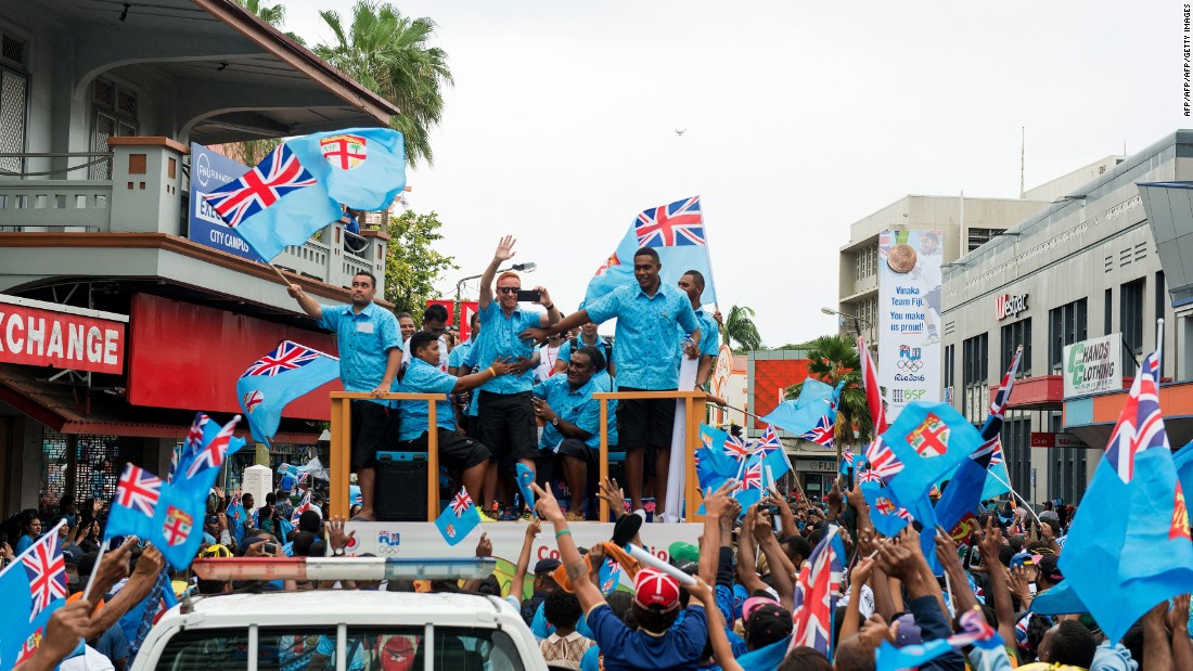 But that was dwarfed by the celebrations that greeted both Ryan and his players on their return to Fiji after August's Games.