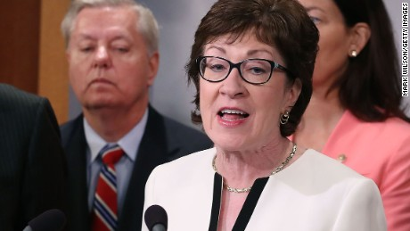 WASHINGTON, DC - JUNE 21:  Sen. Susan Collins (R-ME), speaks while flanked by bipartian Senate colleagues during a news conference on Capitol Hill, June 21, 2016 in Washington, DC. Collins and a bipartisan group of Senators announced a measure that would block people on the Transportation Security AdministrationÕs no-fly list from buying firearms. The measure also includes a list that would subject individuals to additional screening before boarding a plane.  (Photo by Mark Wilson/Getty Images)