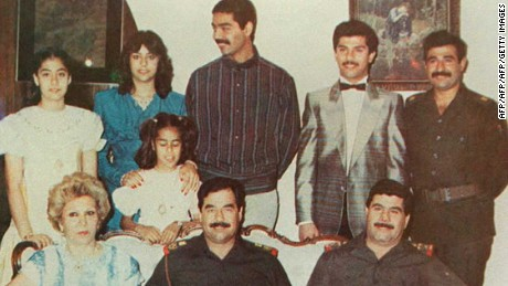 An undated photo showing Saddam Hussein with his family in Baghdad, Iraq.