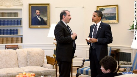 WASHINGTON - MAY12: In this handout from the The White House, U.S. President Barack Obama talks with Senior Advisor David Axelrod during a staff meeting in the Oval Office May 12, 2009 in Washington, DC.