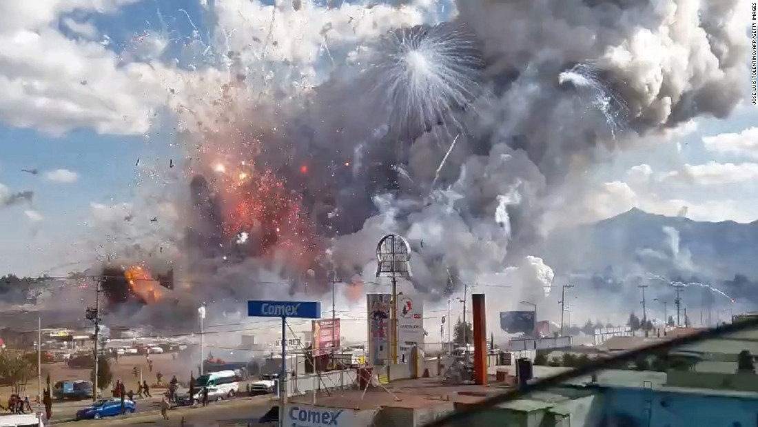 "Fireworks explode at the San Pablito market in Tultepec, Mexico, on Tuesday, December 20. Authorities say <a href=""http://www.cnn.com/2016/12/21/americas/mexico-fireworks-market-explosion/"" target=""_blank"">dozens were killed at the market,</a> which was especially busy with people buying fireworks for the holidays."
